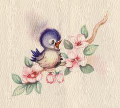 Blue Bird Vintage Happiness 55 Ideas For 2019 Vintage Greeting Cards, Vintage Postcards, Vintage Images, Bluebird Tattoo, Tattoo Bird, Tattoo Cat, Halloween Vintage, Image Paper, Cute Birds