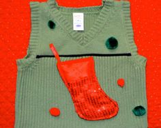 6-12mo Kids Ugly Christmas Sweater Vest  with Stocking and pom poms, Boys or Girls