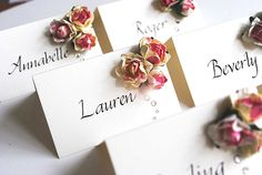 wedding place cards - bespoke with rose clusters find more information at www.calligraphy-for-weddings.com