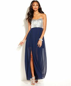 B Darlin Juniors' Strapless Sequined Illusion Dress