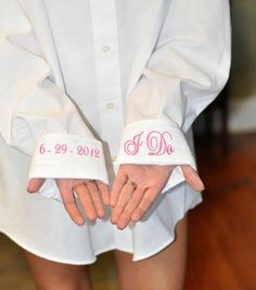 Oversized Monogram Bridal Shirt. Discounts for wedding parties! Only $36.00,  Free Monogramming ! via Etsy.