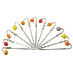 Set of 11 Vintage Glass Fruit Cocktail Picks. Available at The  Hour and TheHourShop.com ~ curated goods for the modern home bar.