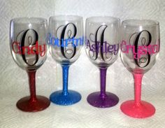 This video will show you how to do glass etching with the Silhouette Cameo machine. Glass etching allows you to use the silhouette america products to person. Monogram Wine Glasses, Glitter Wine Glasses, Diy Wine Glasses, Decorated Wine Glasses, Personalized Wine Glasses, Painted Wine Glasses, Birthday Wine Glasses, Personalized Gifts, Joey Graceffa