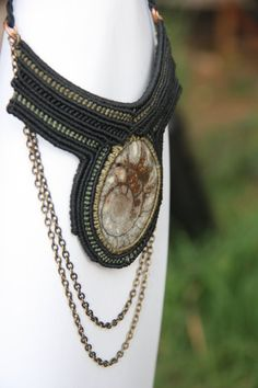 ammonite see shell spiral black and olive green macrame necklace on Etsy, 474.12 ₪