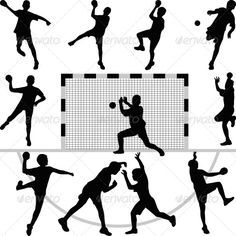 Set of Nine Handball Players with Goal