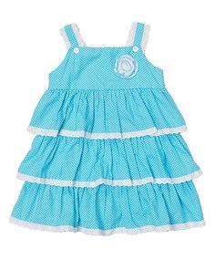 Aqua Polka Dot Tiered Dress - Infant & Toddler