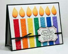 Birthday candles diy kids bday cards 24 ideas for 2019 Handmade Birthday Cards, Happy Birthday Cards, Greeting Cards Handmade, Rainbow Card, Bday Cards, Embossed Cards, Paper Cards, Creative Cards, Cool Cards