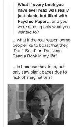Omg…  doctor who for psychic paper or supernatural for diva sam - or books for the general bokkyness of the post??