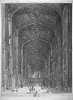 King's College Chapel, Cambridge  Engraving: from 'Cantabrigia Illustrata', D. Loggan (c. 1690)  Source: RIBA British Architectural Library