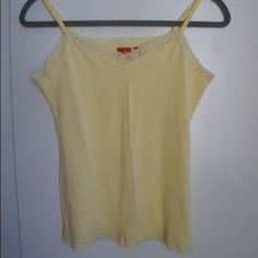 New Esprit tank top without tags Light yellow tank top with lace. Soft 100% cotton top. ESPRIT Tops Tank Tops