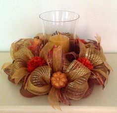 """16"""" Bronze and Gold Deco Mesh Fall Centerpiece with 9"""" Hurricane"""