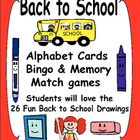 Make Back to School learning lots of fun with these alphabet cards, bingo game and memory match! Students will love these 26 fun drawings and games while learning!