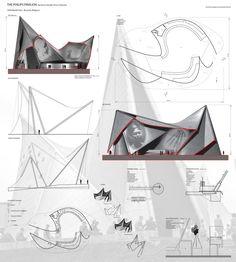 Expo 58 Phillips Pavillion by Le Corbusier - Study Folding Architecture, Concept Models Architecture, Conceptual Architecture, Architecture Presentation Board, Modern Architecture Design, Pavilion Architecture, Conceptual Design, Le Corbusier, Pavillion Design