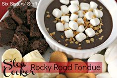 Slow Cooker Rocky Road Chocolate Fondue- have a fun fondue dessert night with help from your crock pot!