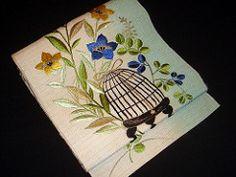 Antique Mushi Kago Hitoe Obi (Satomi Grim) Tags: kimono obi clover ro mushi kitsuke balloonflower hagi bellflower taisho kikyo insectcage mushikago