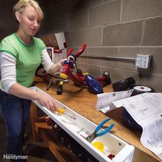 We looked at all of our clever DIY workbench upgrades and narrowed it down to these 10 winners. Each one helps you get the most from your hard-working workbench. Building A Workbench, Folding Workbench, Workbench Plans, Garage Workbench, Workshop Bench, Garage Workshop, Wood Workshop, Workshop Ideas, Tool Storage