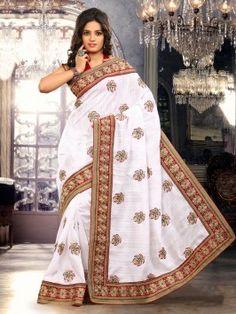 White Bhagalpuri Silk Saree With Butta Work www.saree.com