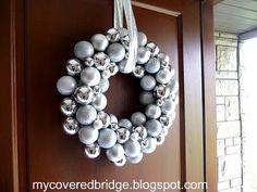 Pretty homemade ornament wreath
