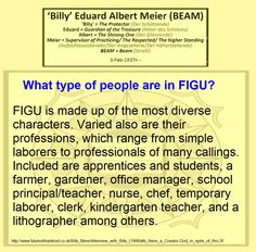 What type of people are in FIGU?  FIGU is made up of the most diverse characters. Varied also are their professions, which range from simple laborers to professionals of many callings. Included are apprentices and students, a farmer, gardener, office manager, school principal/teacher, nurse, chef, temporary laborer, clerk, kindergarten teacher, and a lithographer among others.   Ban-Srut Beam  - Last Prophet - Line of Nokodemion