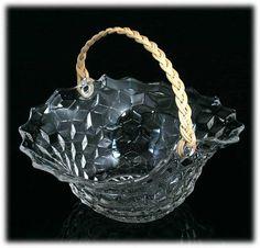Fostoria American Reed Handled Basket Vintage Elegant Glass Cube Crystal