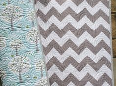 Chevron Backyard Baby Boy Quilt Windy Day Trees Aqua Blue Grey MADE TO ORDER
