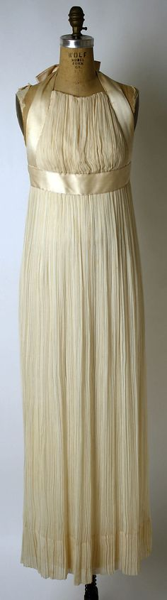 1970 Sarmi silk halter empire column evening gown (fortuny pleating) - Count Ferdinando Sarmi, born in Italy was a Coty-award winning American designer from 1951-1972, when his house closed - clients were celebs, NY socialites, foreign dignitaries & Pat Nixon -- Metropolitan Museum of Art