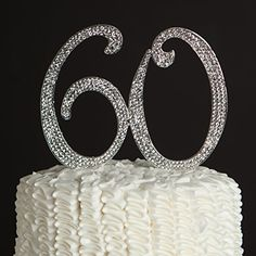 60 Cake Topper for 60th Birthday or Anniversary - Silver Rhinestone Metal Number Party Decoration