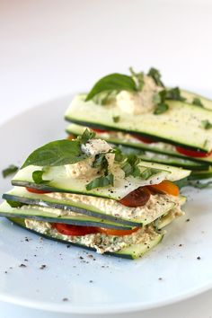 "Lasagna comes in all shapes and temperatures. // ""Raw Zucchini Lasagna"" 