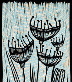 Pods, a color linocut by Mariann Johansen-Ellis P4. $80.00, via Etsy.