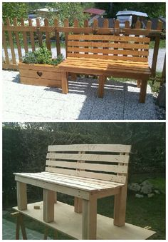 Cool Pallet Outdoor Bench  #garden #palletbench #recyclingwoodpallets Outdoor bench made entirely from repurposed wooden pallets.   100% legno recuperato da pallet.   ...