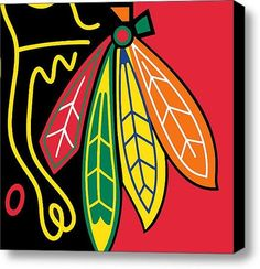 Chicago Blackhawks on Stretched Canvas by RubinoFineArt on Etsy, $70.00