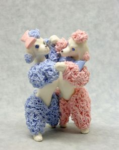 VTG Funky Retro White poodle figurine w blue & pink spaghetti trim dancing pair Pink Poodle, Poodle Mix, Dog Crafts, Pink Elephant, Vintage Ceramic, Vintage Love, Color Themes, Kitsch, Cute Puppies