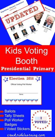 kids voting booth presidential primary. Kids election activities ...