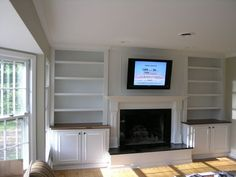 built-in shelves around fireplace | built in bookshelves around fireplace | For the Home