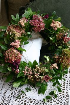 Beautiful wreath with dried hydrangea blossoms