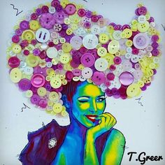 😉💋 Button Art. Neon print, acrylic paints, pen, broken jewellery and buttons on canvas. Who knew purple and lime green would look good together 💜💚 #art #throwback #artoftheday #potd #instadaily #mixedmidia #popart #punk #spotlightonartists #Art_spotlight #pro_artists #artmagazine #upcycle