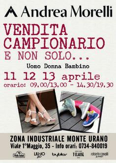 Dall'11 al 18 Aprile nello shop online Andrea Morelli calzature uomo/donna/bambino a prezzi di fabbrica. Non perdere la VENDITA DEL CAMPIONARIO! http://shop.andreamorelli.com/