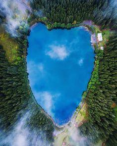 Heart-shaped Karagöl Lake makes you envy birds even more.