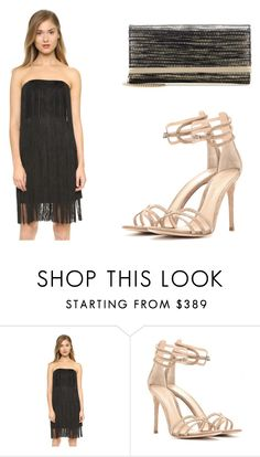 """""""Black Cocktail Dress with Fringe"""" by richclubgirl ❤ liked on Polyvore featuring Club Monaco, Gianvito Rossi, Jimmy Choo, dress and cocktail"""