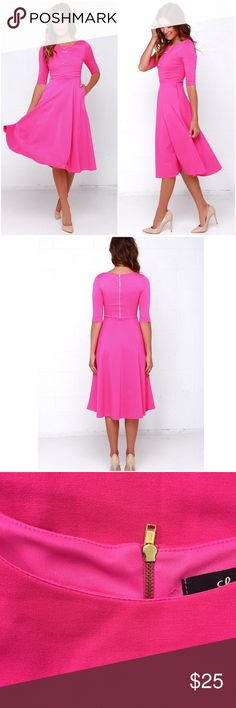 Lulu's Having A Shindig Hot Pink Midi Dress Lulu's Having A Shindig Hot Pink Midi Dress Size Large. Exposed Zipper Back. Lined. AWESOME POCKETS. Only flaw is two lose threads on neckline as pictured which I will let the buyer snip, this dress was only tried on. Lulu's Dresses Midi