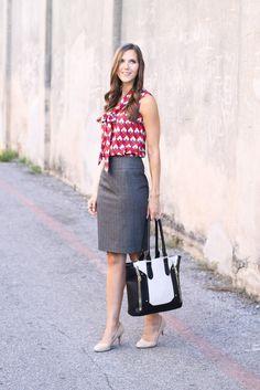 print tie blouse + pencil skirt + nude heels