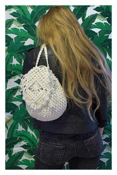 Boho macrame crochet backpack  - festival style... #macrame #macrametry #boho #festival #style #bag #backpack #crochet #wear #new #handmade #blonde #trend #2018 #leather #black #white #bananaleaf #fringe #diamond