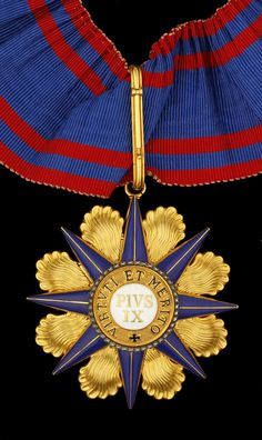 Vatican, Holy See, Order of Pius, Commander's neck Badge, by Tanfani, Rome, 62mm, GOLD and enamel, maker's cartouche on reverse, with neck riband