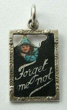 Edwardian Silver & Enamel 'Forget me Not' Charm
