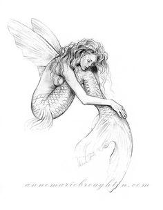 inch PRINT Mermaid's Drift Flying Fish Mermaid with Fairy Wings Art Graphit. - inch PRINT Mermaid's Drift Flying Fish Mermaid with Fairy Wings Art Graphite Pencil Drawing - Fairy Sketch, Mermaid Sketch, Mermaid Art, Mermaid Outline, Fairy Drawings, Mermaid Drawings, Mermaid Tattoos, Fairy Wings Drawing, Mermaid Tattoo Designs
