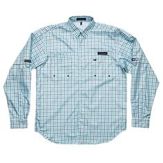 Southern Marsh Harbor Cay Long Sleeve Shirt in Slate and Teal