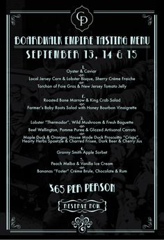 Prohibition Menu Boardwalk Empire