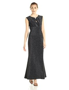Marina Womens Dress with Center Front and Back Keyhole Hardware At Center Front with Shirring At Sides Black 10 *** Find out more about the great product at the image link.