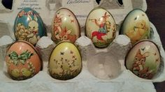 7 Vintage England Ireland Tin Litho Easter Egg Candy Containers