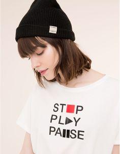 Pull&Bear $279 - mujer - novedades - camiseta print abalorios - hielo - 09242357-I2015